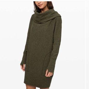 Lululemon olive green sweatshirt dress